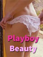Playboy beauty pulls down her panties
